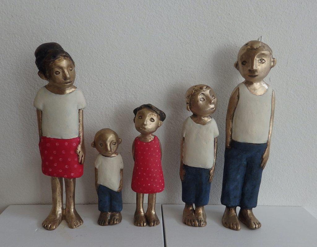 familie, portrait, bronze, wandobjekt