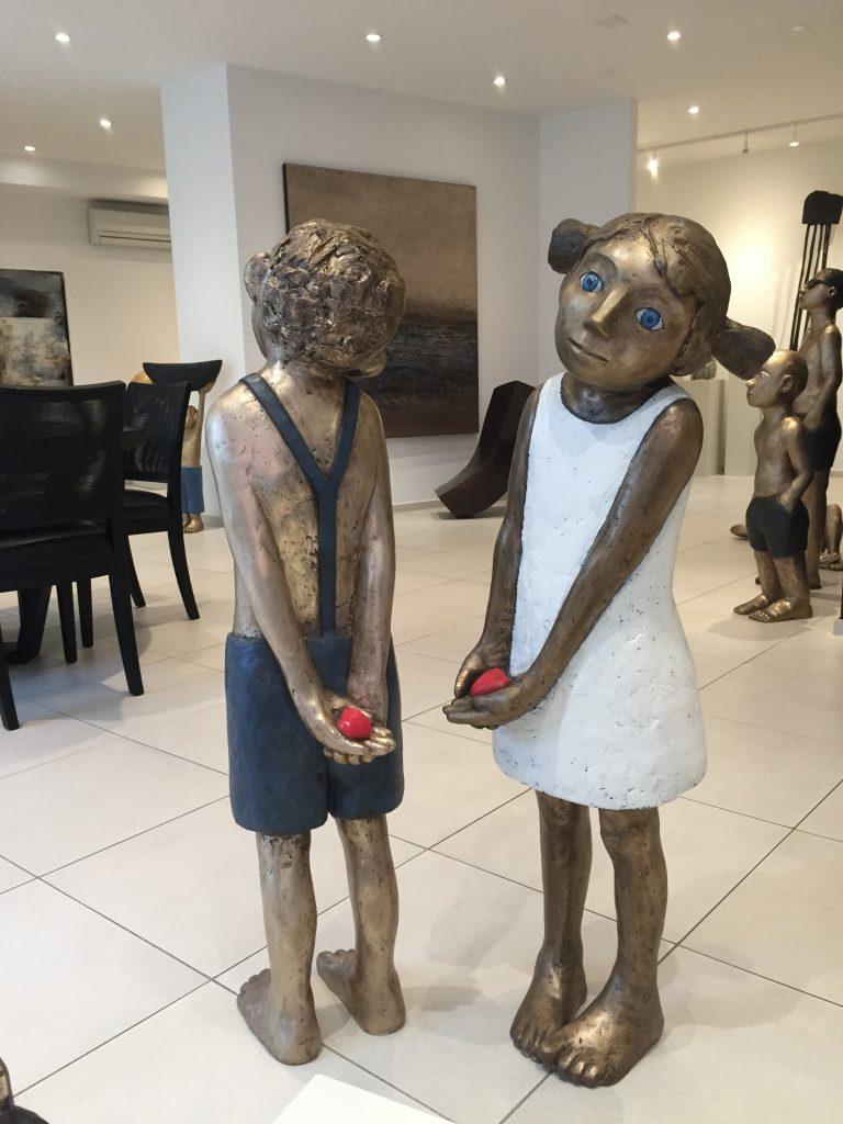 Herzdame und Herzbube Bronze Liebe