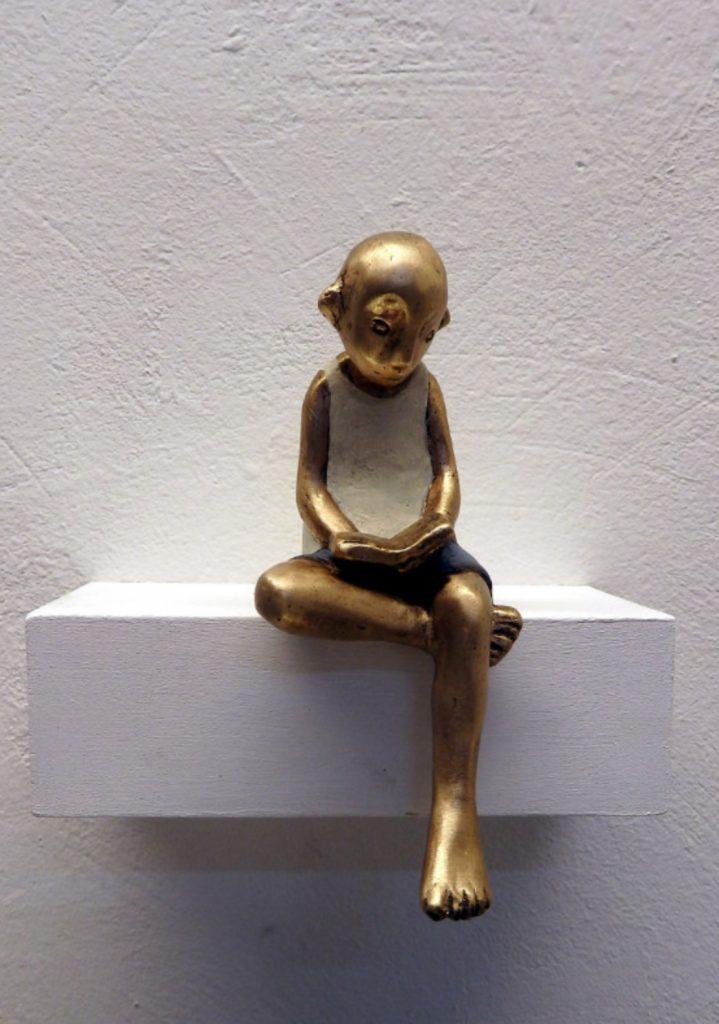 bronze, lesen, buch