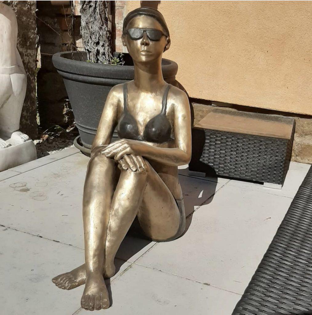 Bronze, Lady, Sonne, Meer, Hotel Giardino Ascona